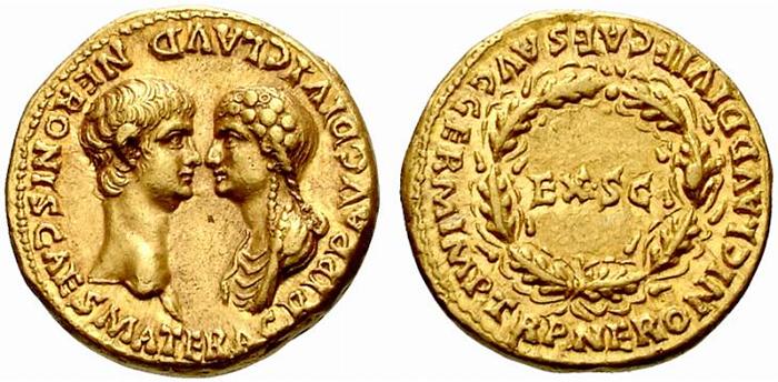 Золотой ауреус с изображением Нерона и Агриппины (матери Нерона).